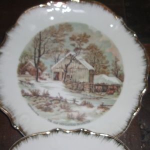 Currier And Ives Wall Art - Vintage Currier and Ives Old Homestead Plate set